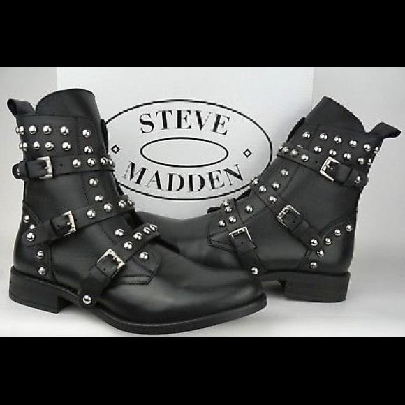 034dd1d368f Steve Madden Women s Studded Spunky Biker Boots